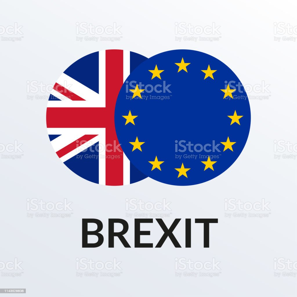 Brexit icon with UK flag and EU flag. British and Europe crisis...