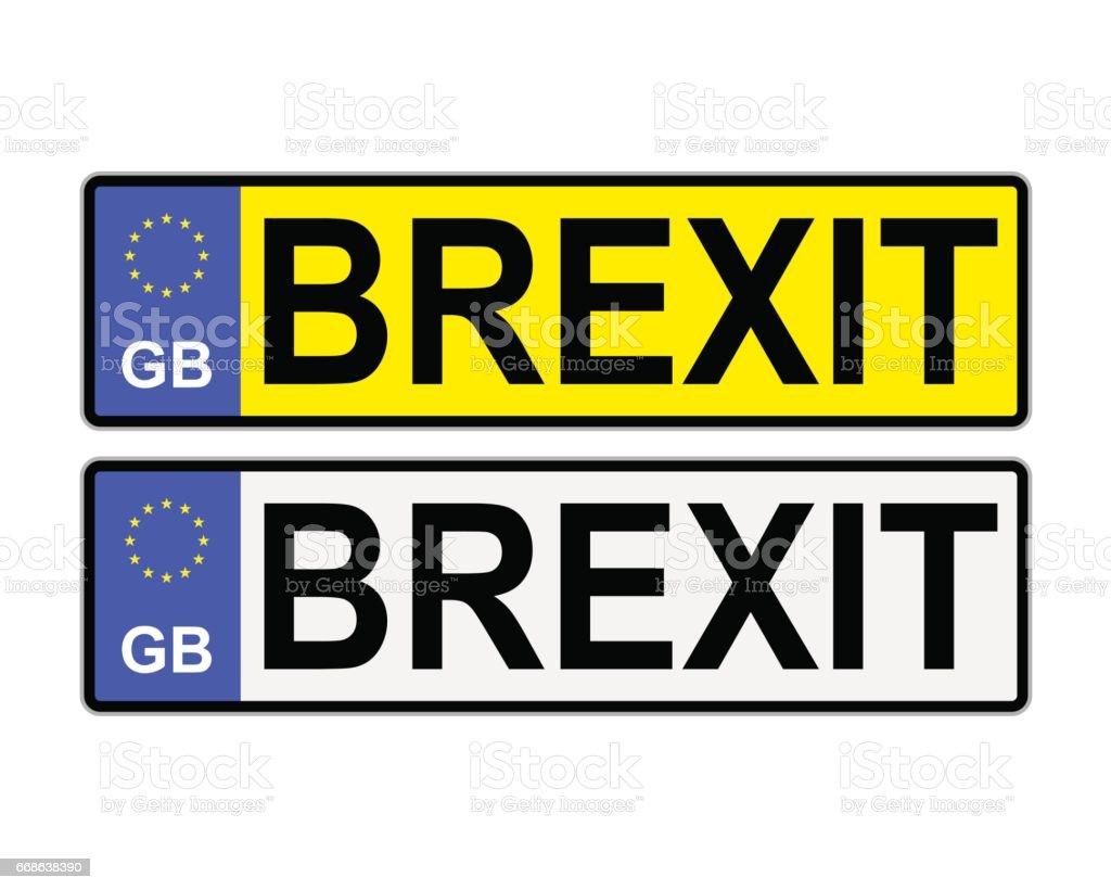 GB Brexit Number Plates vector art illustration