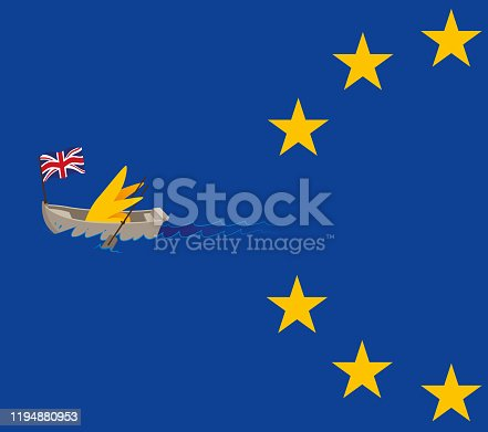 Vector Illustration of a Brexit Cartoon Star Paddling Out Of The European Union