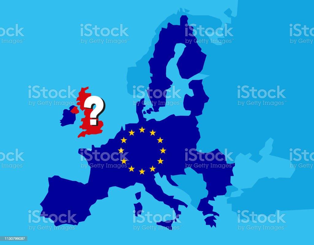 Conceito britânico do referendo de Brexit-Reino Unido, Grâ Bretanha ou Inglaterra que saem da UE com o Reino Unido como uma bandeira e estrelas da UE no mapa de Europa com ponto de interrogação grande em Inglaterra-ilustração do vetor - ilustração de arte em vetor