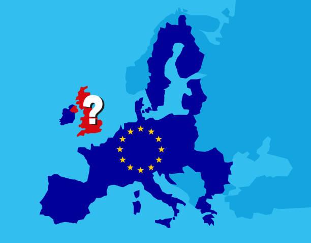 ilustrações, clipart, desenhos animados e ícones de conceito britânico do referendo de brexit-reino unido, grâ bretanha ou inglaterra que saem da ue com o reino unido como uma bandeira e estrelas da ue no mapa de europa com ponto de interrogação grande em inglaterra-ilustração do vetor - bandeira union jack