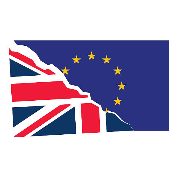 bildbanksillustrationer, clip art samt tecknat material och ikoner med brexit. separated flags of european union and united kingdom - brexit