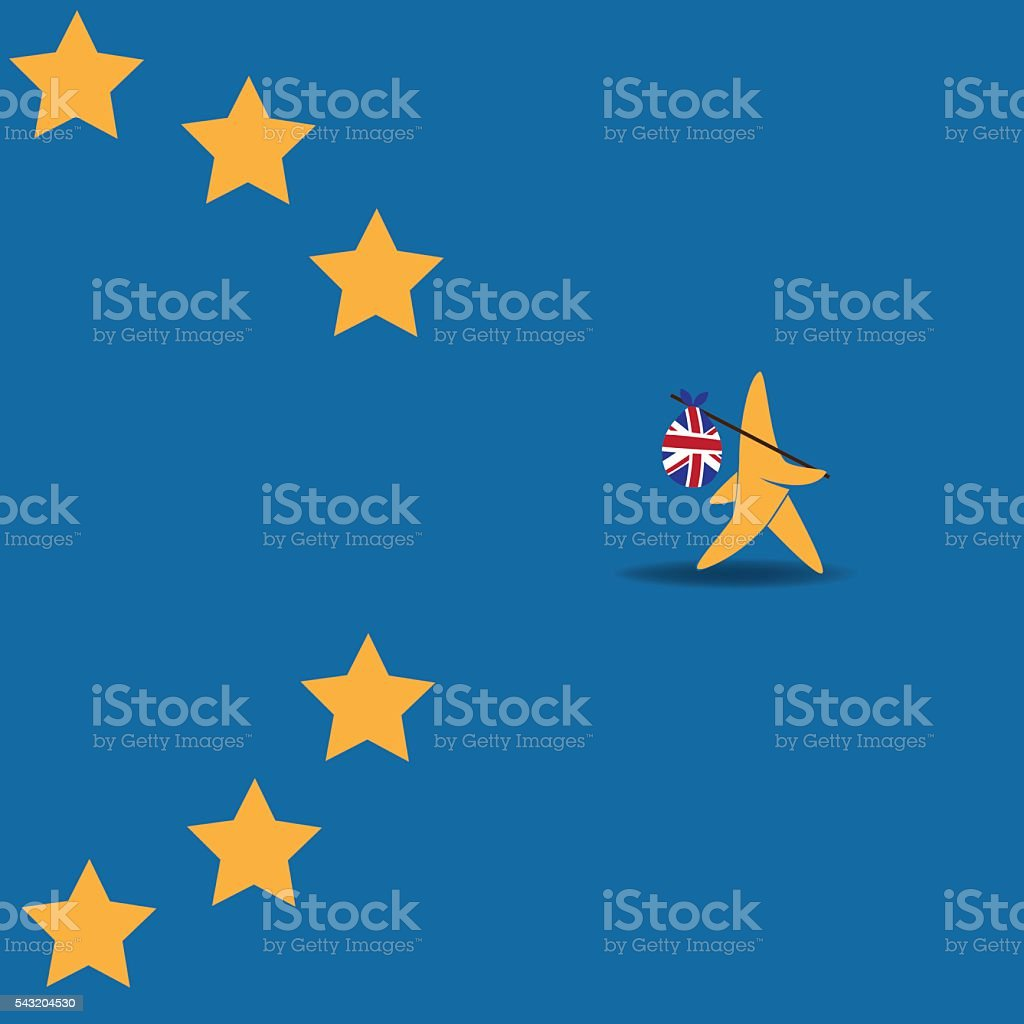 Brexit star walking off EU flag. vector art illustration