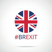 Brexit. UK flag round icon, brexit hashtag. Flat vector icon