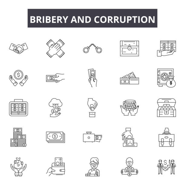 Bribery and corruption line icons, signs, vector set, linear concept, outline illustration Bribery and corruption line icons, signs, vector set, outline concept, linear illustration bribing stock illustrations