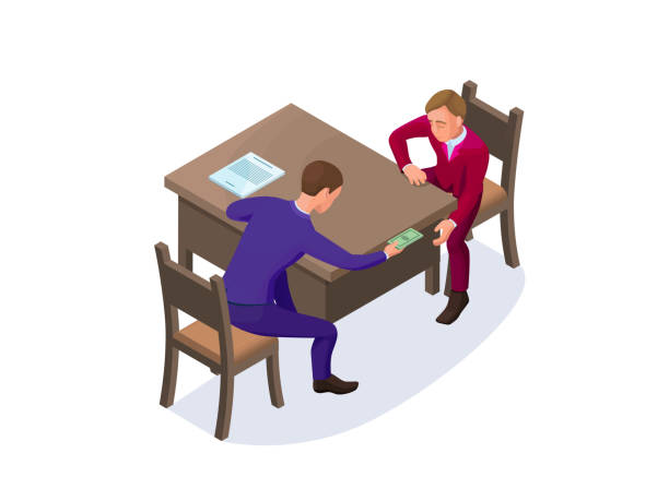 Bribery concept with businessman gives money as a bribe, isometric vector illustration of corruption, financial fraud, crime vector art illustration