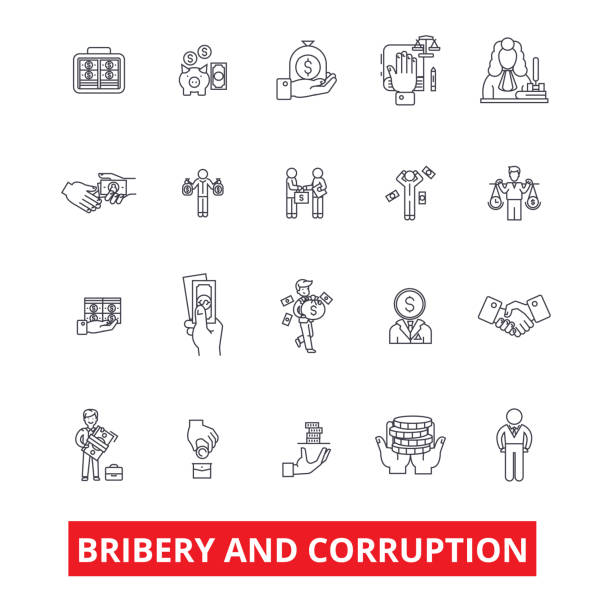 Bribery, corruption, anti-bribery, law, fraud, conflict of interest, money line icons. Editable strokes. Flat design vector illustration symbol concept. Linear signs isolated on white background Bribery, corruption, anti-bribery, law, fraud, conflict of interest, money line icons. Editable strokes. Flat design vector illustration symbol concept. Linear signs isolated on white background bribing stock illustrations