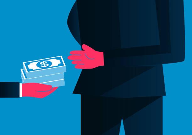 ilustrações de stock, clip art, desenhos animados e ícones de bribes, giving money from behind, hidden transactions - corruption