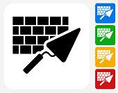 Brick and Mortar Icon Flat Graphic Design