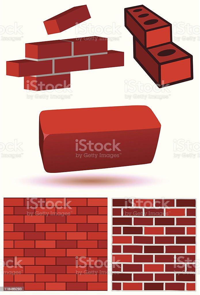 Brick and wall vector illustration set royalty-free stock vector art