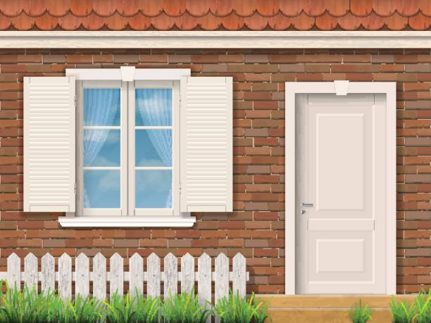 Brick facade with a white window and a door Brick facade of the old building with a white window and a door. Red tile roof. Front garden near entrance of the house. Vector detailed illustration. porch stock illustrations