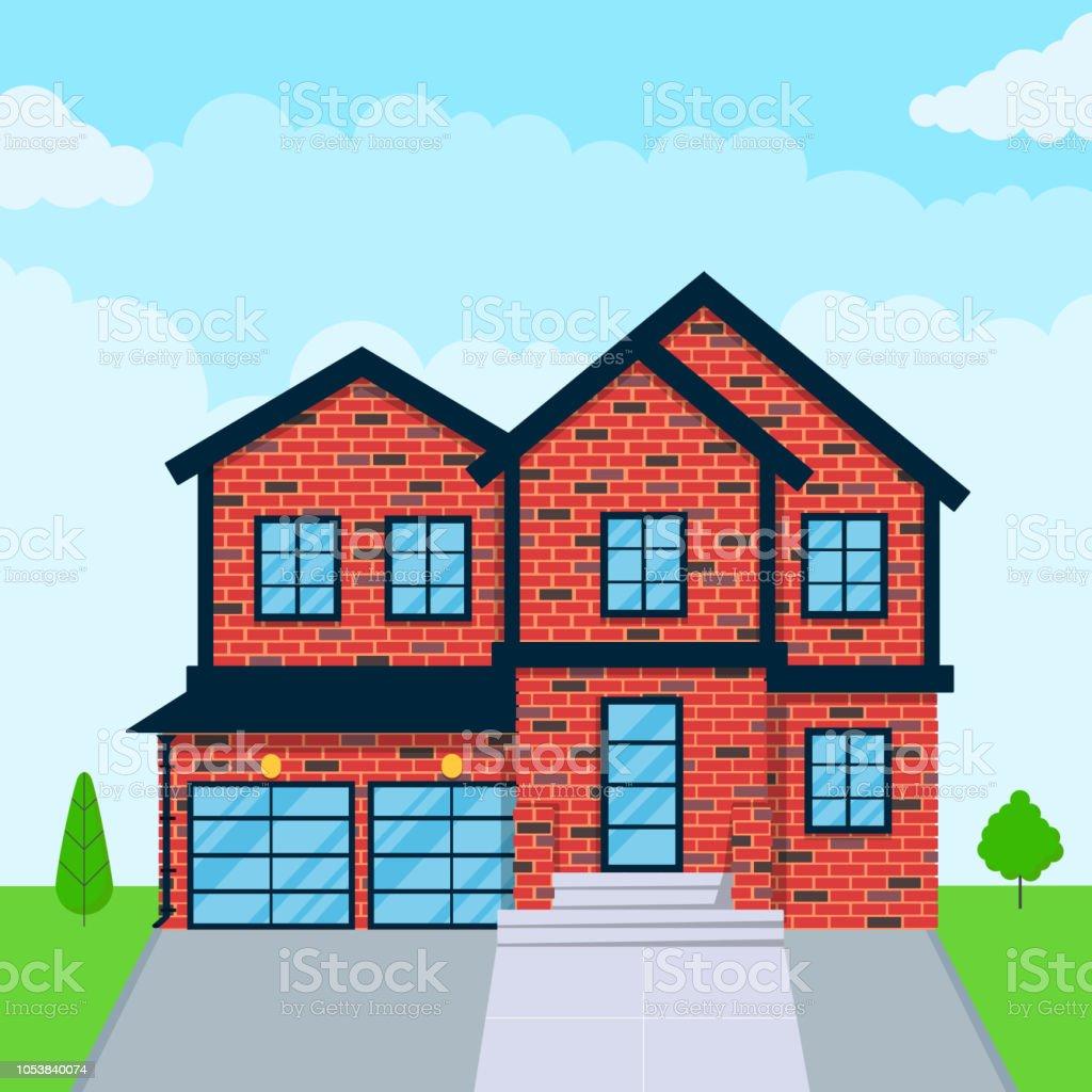 Brique maison style plat extérieur design vector illustration avec