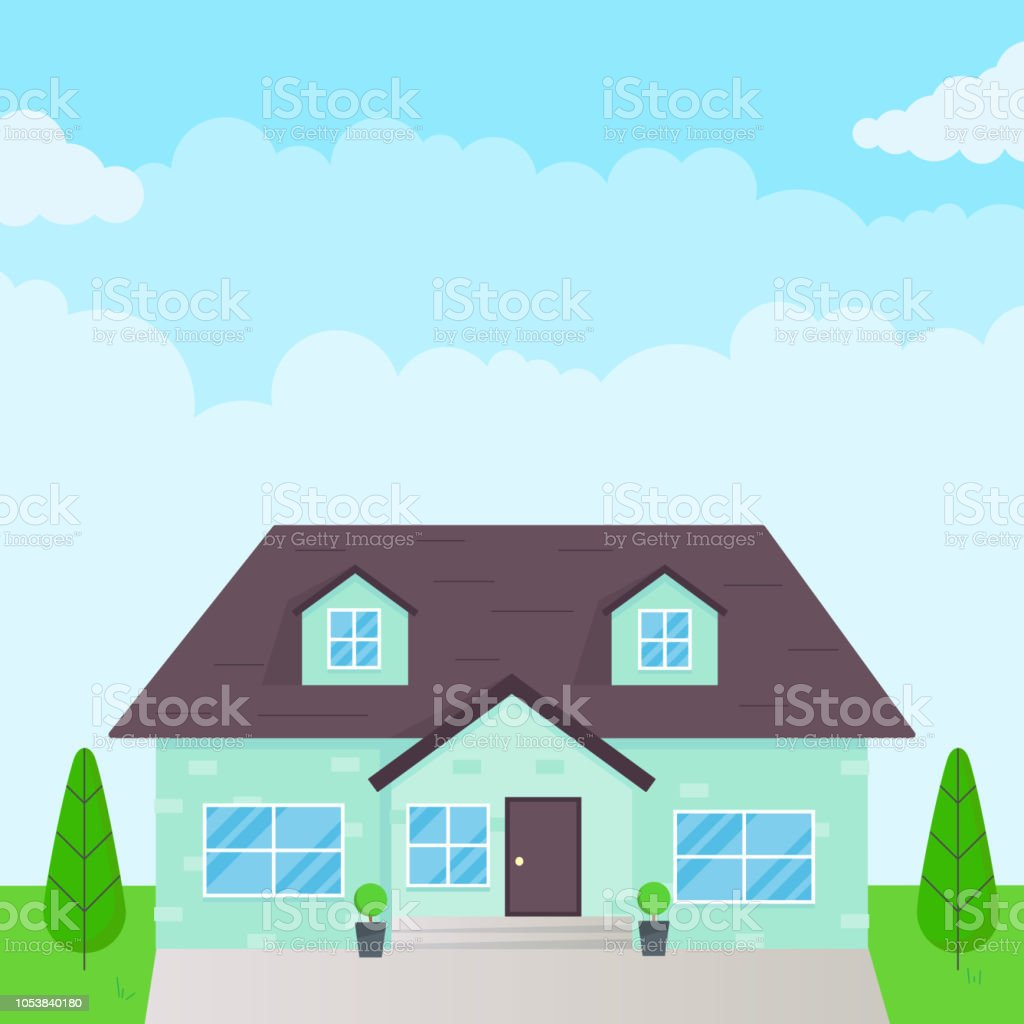 Brick House Exterior Flat Style Design Vector Illustration With Roof Windows And Shadows Classic Townhouse Apartments Fasade Green Grass And Trees Cloudy Sky Stock Illustration Download Image Now Istock