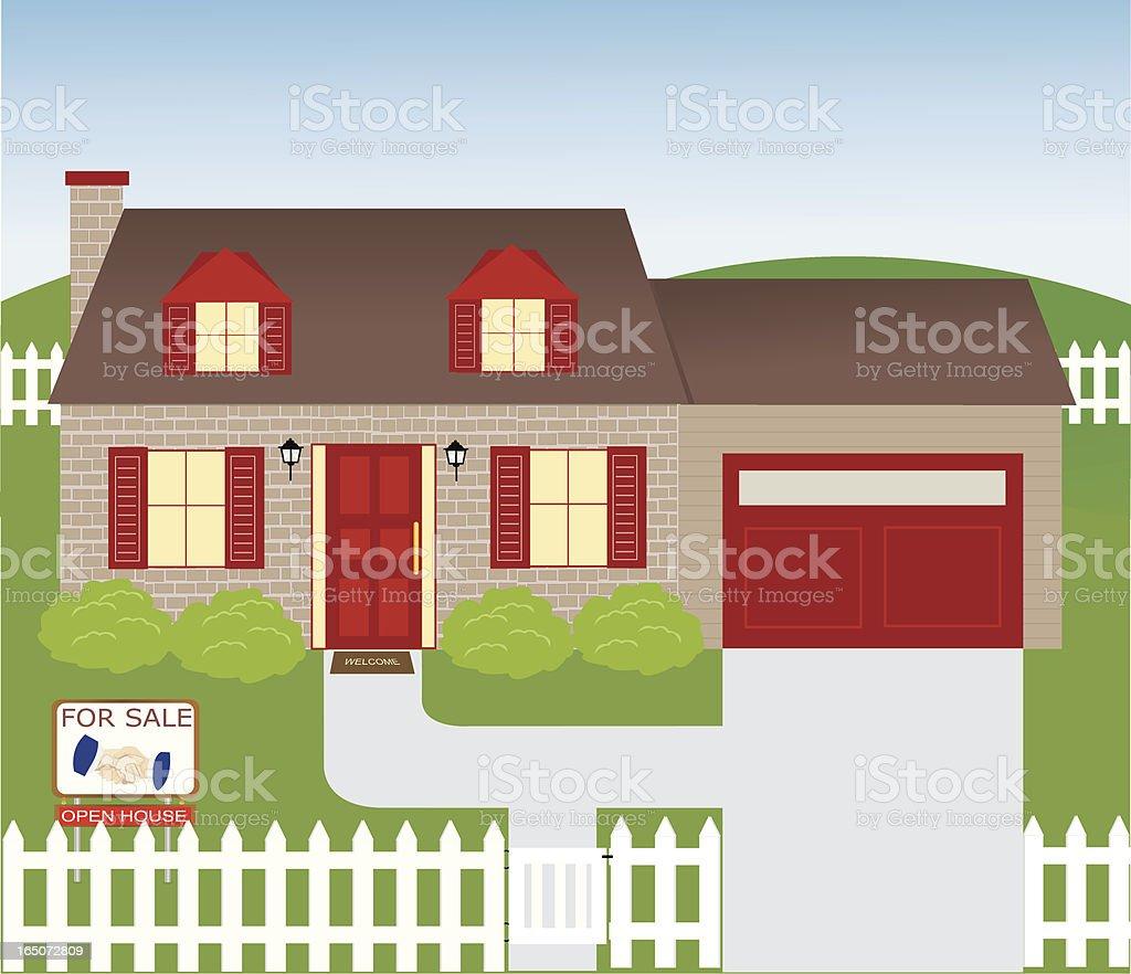 Brick House vector art illustration
