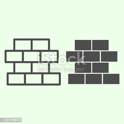 Brick line and solid icon. Building wall with bricks symbol, outline style pictogram on white background. Homebuilding and Brickwork orhome repair vector sign for web and mobile concept