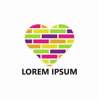 Brick Love Logo Template Design