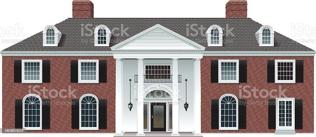 Brick Manor House royalty-free stock vector art