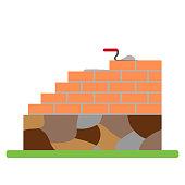 Brick masonry walls. Flat design, vector illustration, vector.