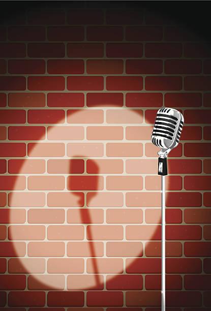 brick night club mic vector art illustration