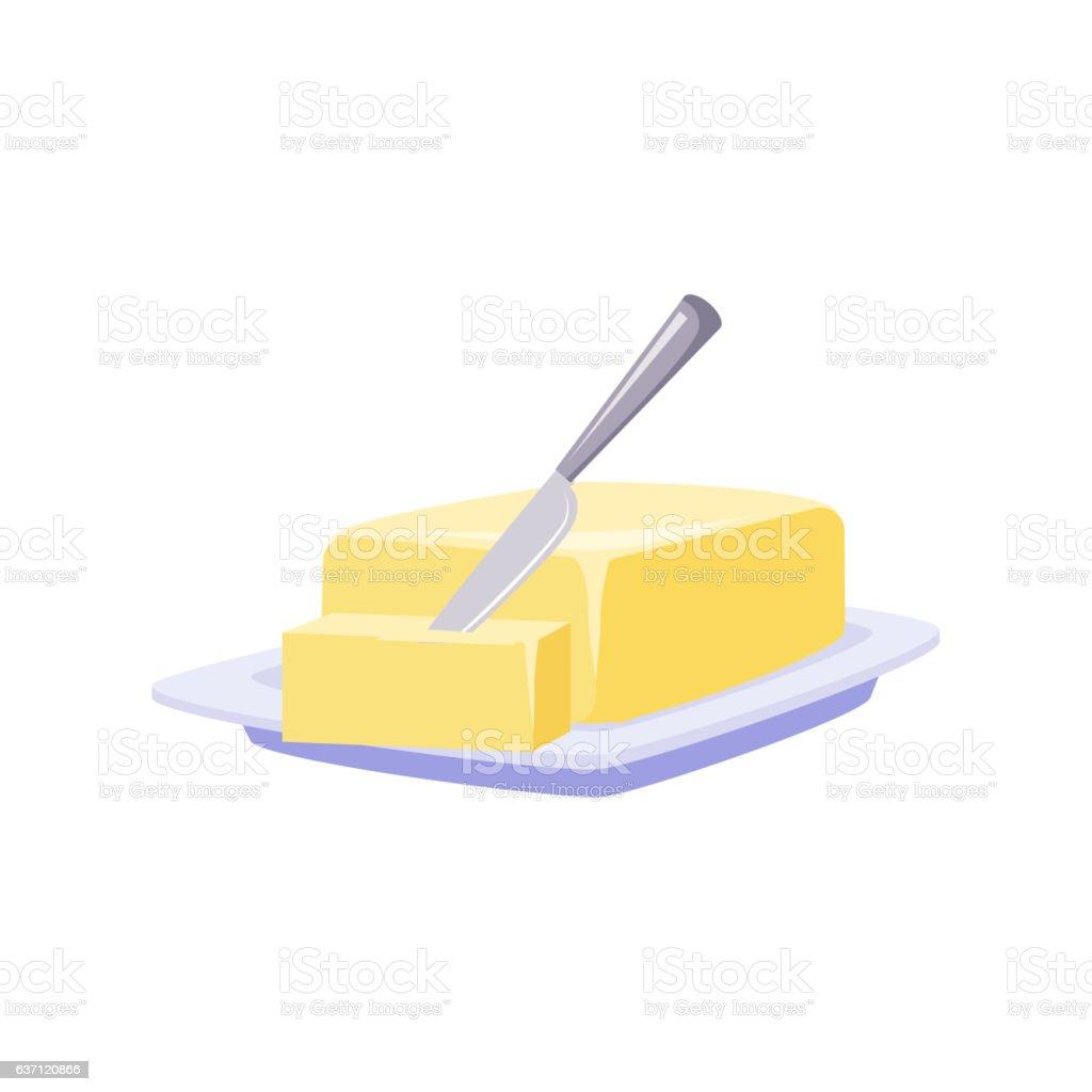 Brick Of Butter On Plate With Knife, Milk Based Product – Vektorgrafik