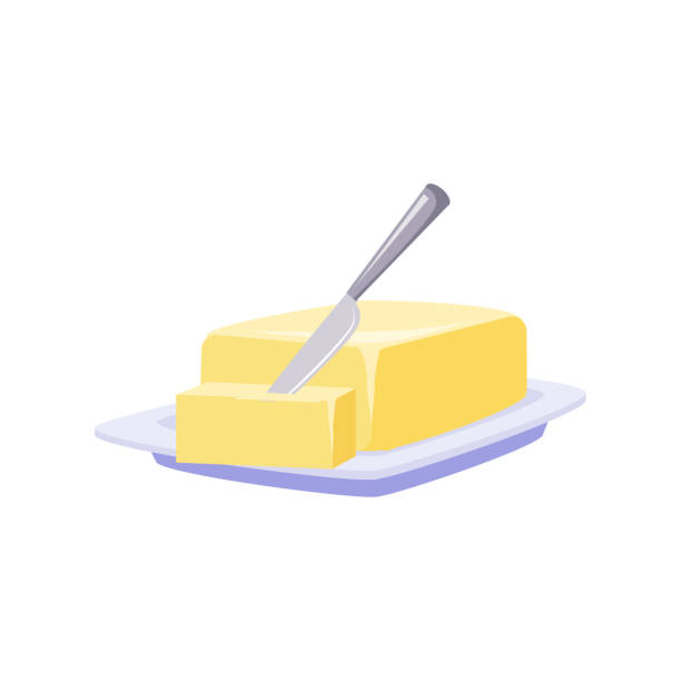 stockillustraties, clipart, cartoons en iconen met brick of butter on plate with knife, milk based product - boter