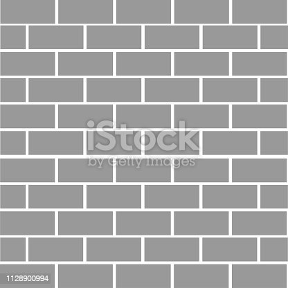 Brick stone wall background. Gray color texture. Rectangle shape. Flat design. Vector illustration.