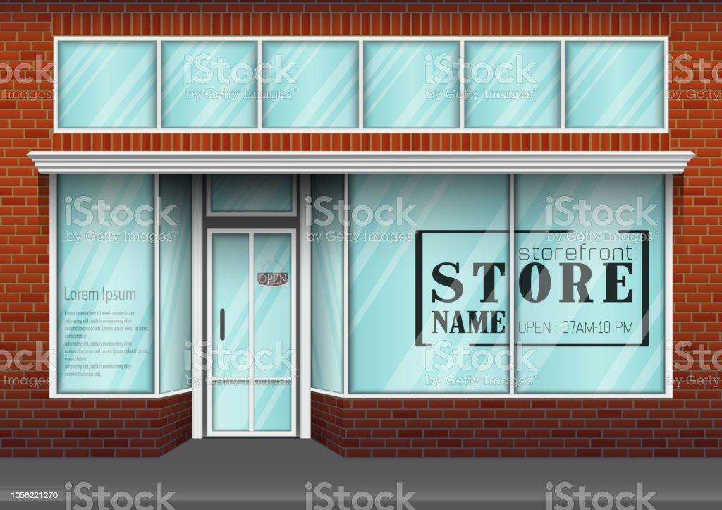 Vector illustration of Brick store building design with big window