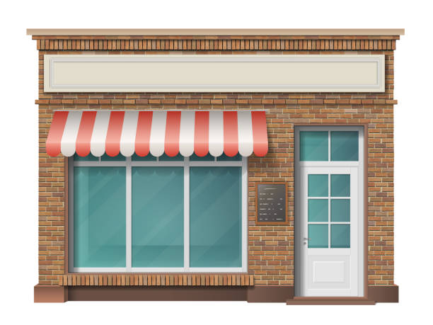 Brick store building facade Brick small store building facade with big window and awning. Vector 3d realistic style. facade stock illustrations