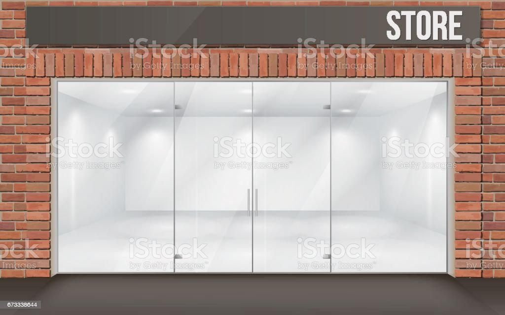 brick store front with big window vector art illustration