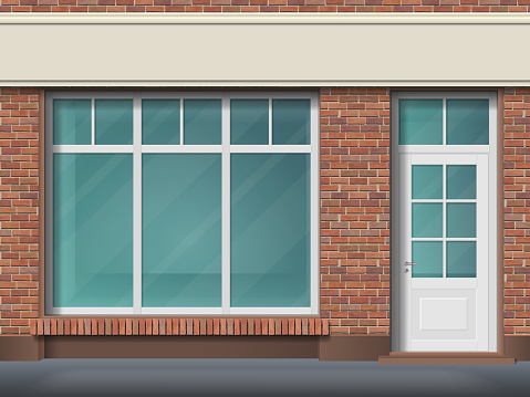 Brick store front with large transparent window