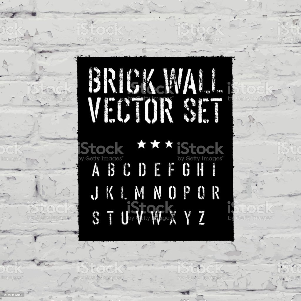 Brick suivi texture grunge alphabet au pochoir et rectangulaire. Thr - Illustration vectorielle