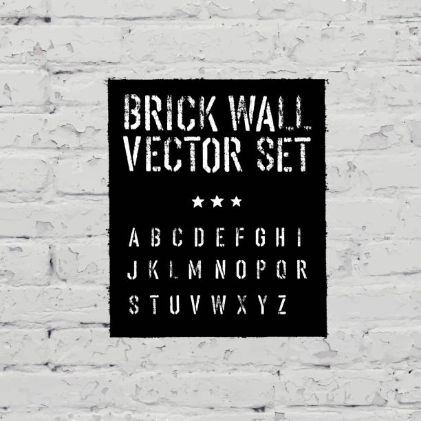 brick traced texture, stencil alphabet and grunge rectangle. thr - graffiti fonts stock illustrations, clip art, cartoons, & icons