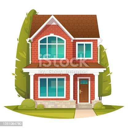 istock Brick two story house in the English style. Rent or sale of real estate. Vector illustration 1251084780