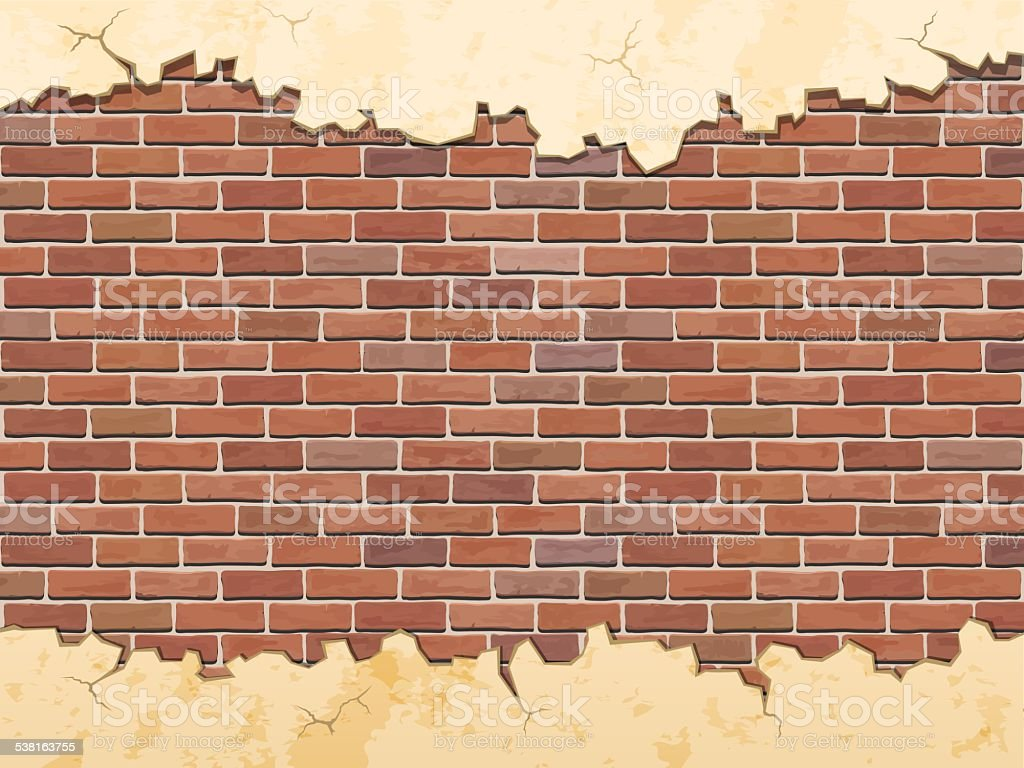 brick wall and cracked concrete vector art illustration