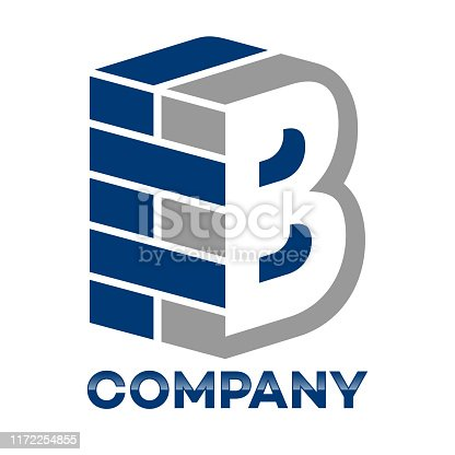 Brick wall and letter B logo