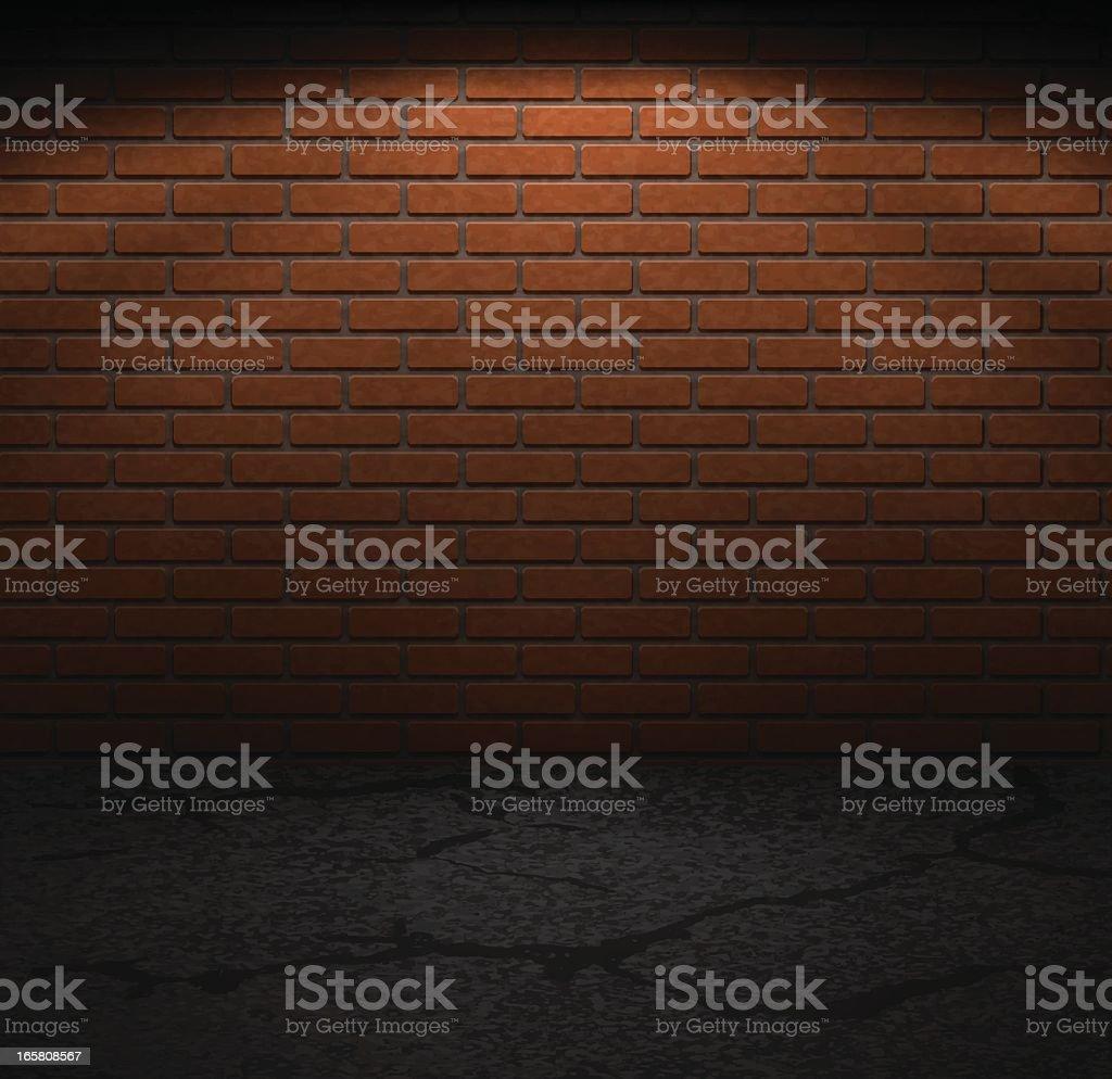 Brick wall and sidewalk in dark lighting vector art illustration