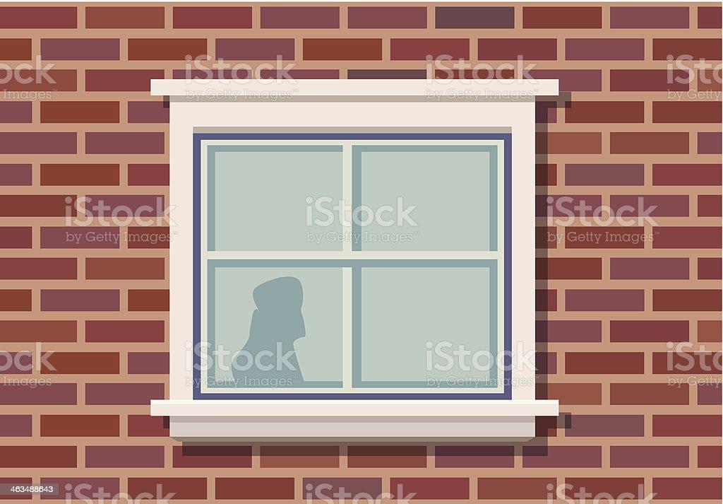 Brick wall and window vector art illustration