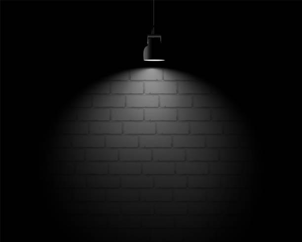 Brick wall backround with light spot. vector art illustration