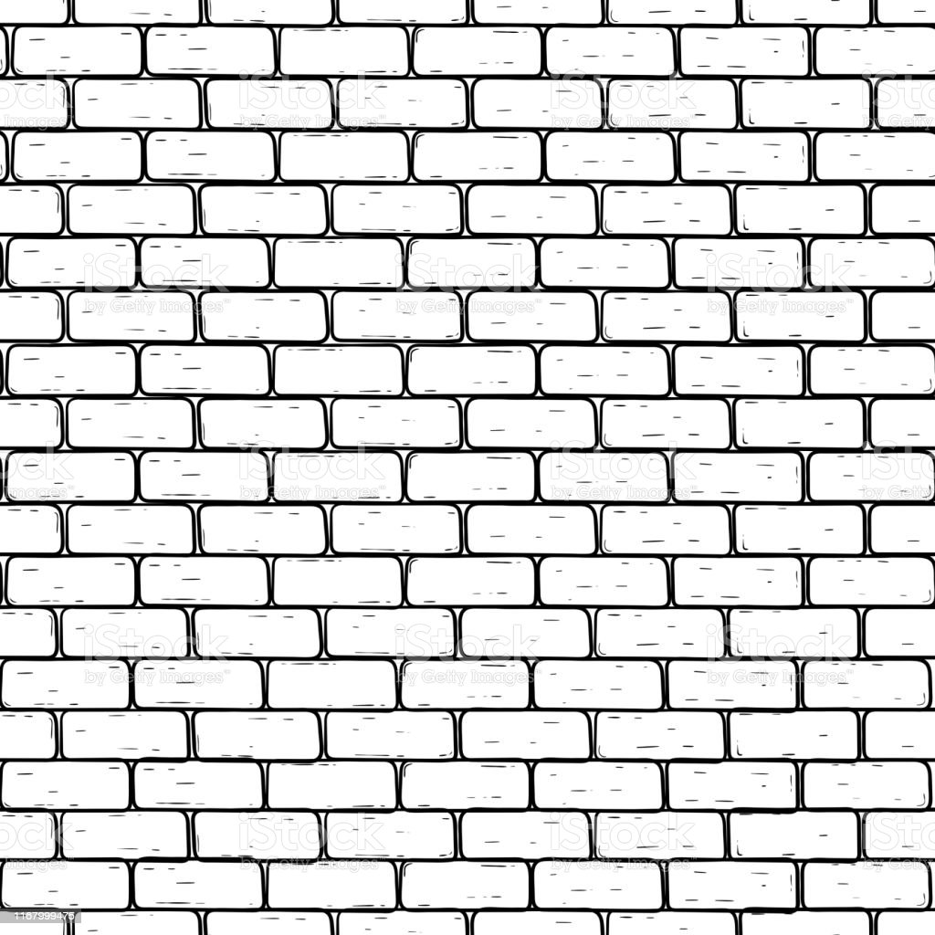 Brick Wall Black And White Seamless Pattern Stock Illustration Download Image Now Istock