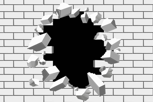 Brick wall break vector background vector art illustration