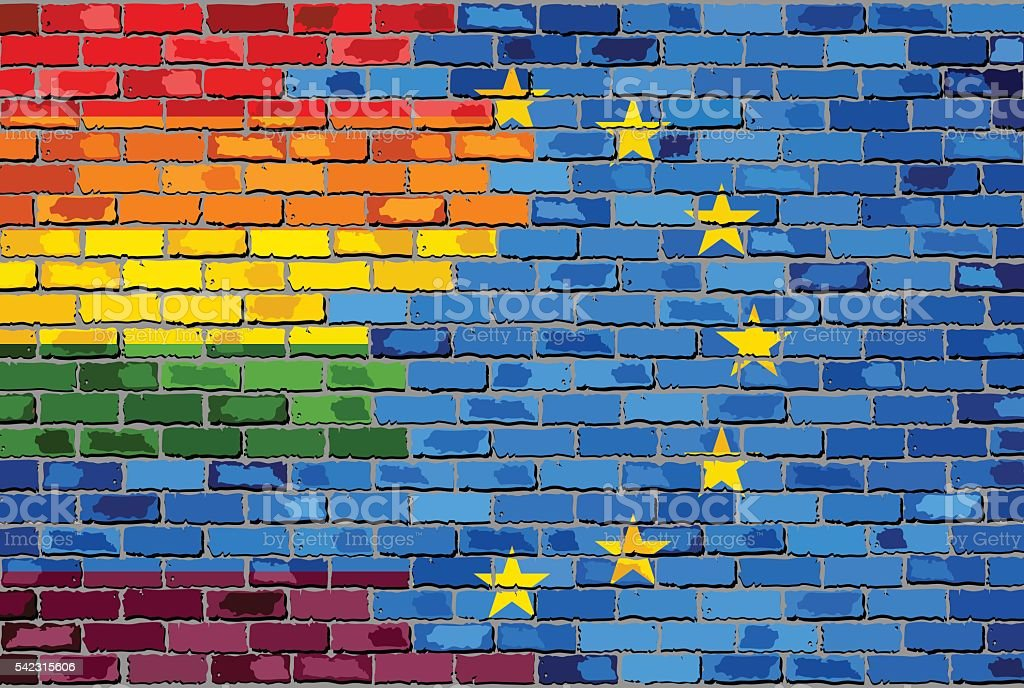 Brick Wall European Union and Gay flags vector art illustration
