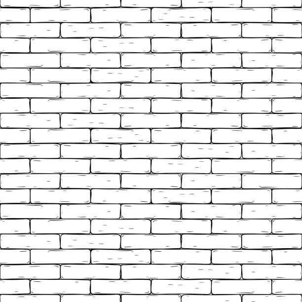 磚牆。手繪無縫的背景向量藝術插圖