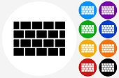 Brick Wall Icon on Flat Color Circle Buttons