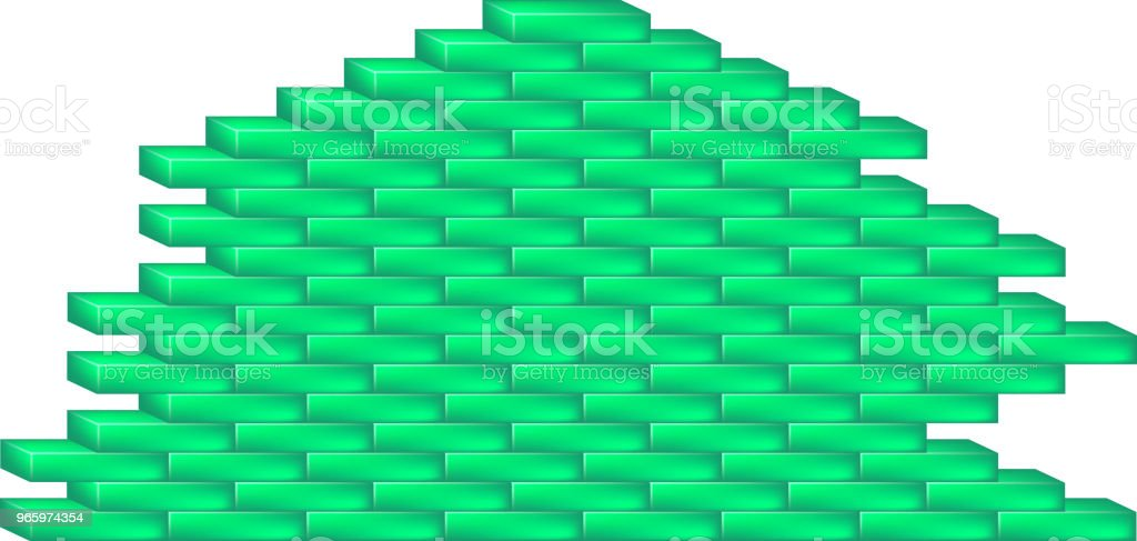 Ziegelmauer im Cyan-design - Lizenzfrei Alt Vektorgrafik