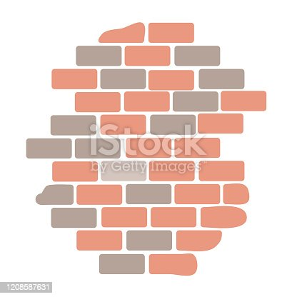 istock Brick wall isolated on white background 1208587631