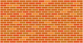 Orange red brick wall texture background banner for your design with copy space for text and images.