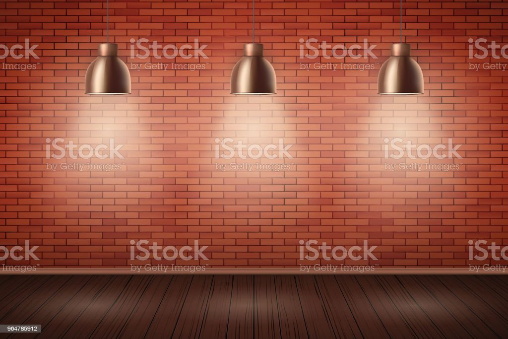 Brick wall room with vintage lamps royalty-free brick wall room with vintage lamps stock vector art & more images of apartment