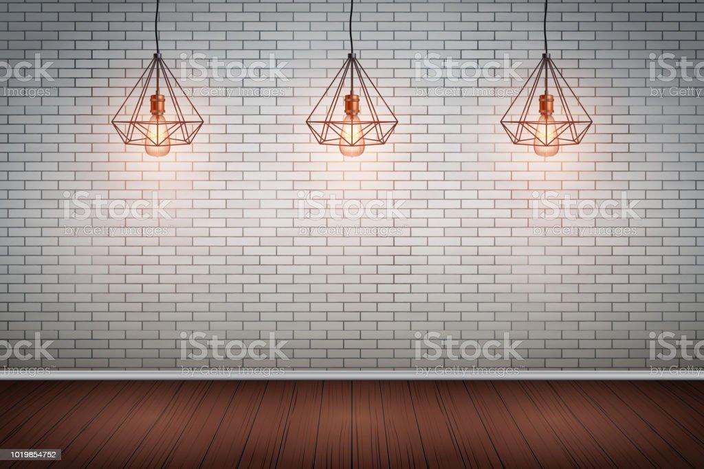 Gemauerte Wand Raum Mit Vintage Draht Pendelleuchten Stock Vektor ...
