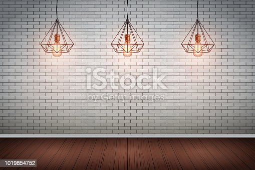 Interior of red brick wall with vintage pendant wire lamps and wooden floor. Fashion interior. Grunge Industrial Texture. Background of loft and trendy showroom or cafe. Vector Illustration