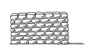 Hand-drawn vector drawing of a Brick Wall Stability Symbol. Black-and-White sketch on a transparent background (.eps-file). Included files are EPS (v10) and Hi-Res JPG.